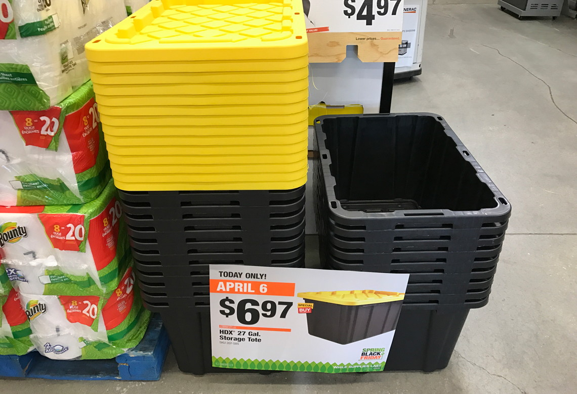 today only hdx 27 gallon storage totes just at the home depot reg. Black Bedroom Furniture Sets. Home Design Ideas