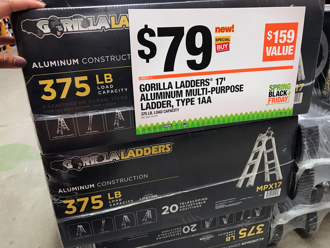 Gorilla Ladders 17 E2 80 B2 Telescoping Multi Position Ladder Only 79 00 At Home Depot The Krazy Coupon Lady