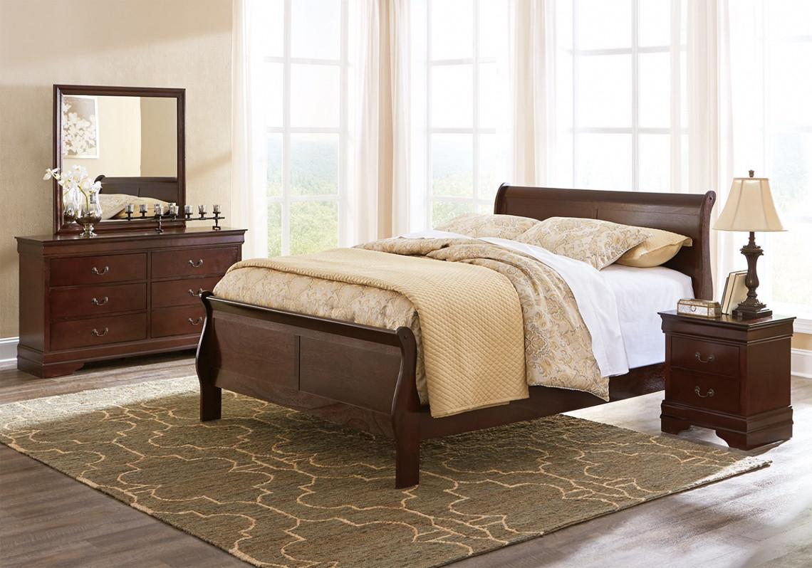Signature Design Bed + Nightstand + Dresser + Mirror + Mattress ...