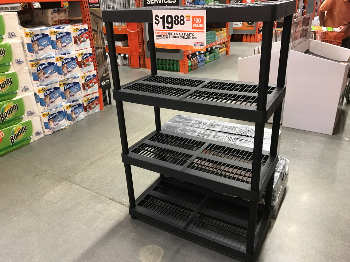 Hdx 4 Tier Plastic Storage Shelving Only 19 88 At Home