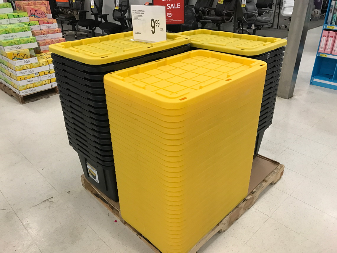 tough box 27gallon storage totes only 699 at office depotoffice max the krazy coupon lady