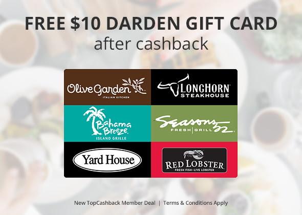 Free $10 Darden Restaurants Gift Card--Spend at Olive Garden, Red ...