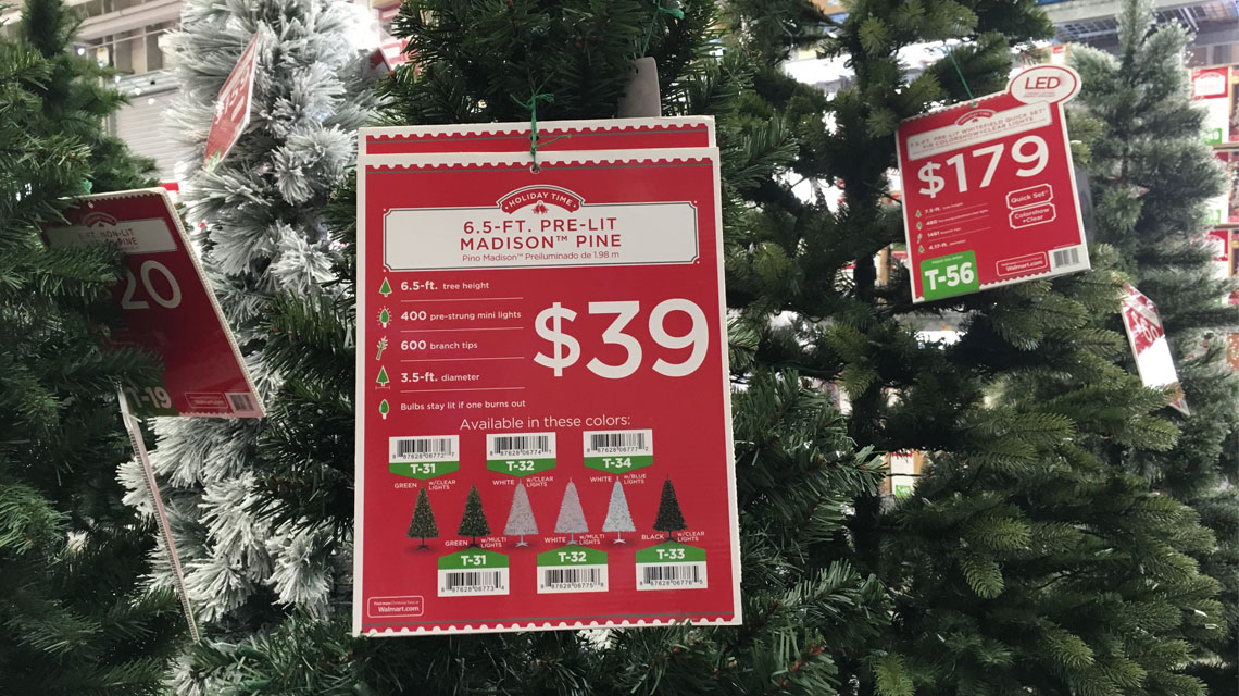 Pre-Lit 6.5 Ft Christmas Trees, Only $39.00 At Walmart