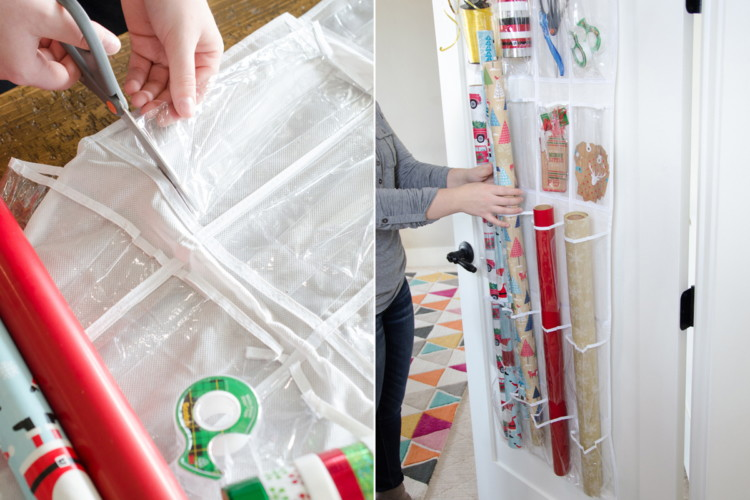 Cut the bottoms off holders and create a gift-wrapping station.