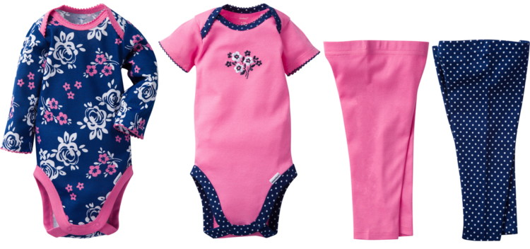 aae7983e0 Buy 1 Gerber Baby Girl 4-Piece Mix N' Match Onesies Bodysuits & Slim Pants  (reg $13.47) $5.50, clearance price. Free store pickup or free shipping on  orders ...