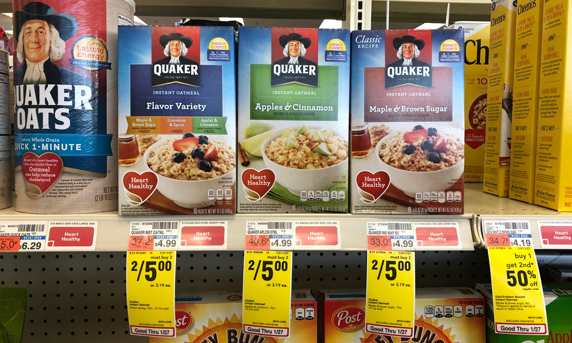 Quaker Instant Oatmeal, Only $2.00 at CVS!
