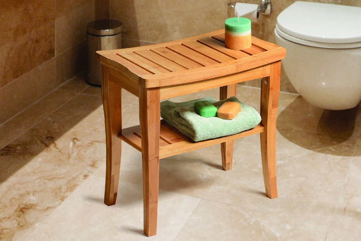 Bamboo Shower Seat Bench with Storage Shelf, Only $44.98 Shipped ...