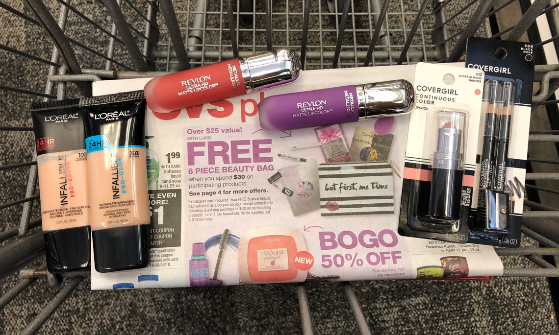 f6e1463e28c Free 8 Piece Beauty Bag With 30 00 Purchase At Cvs 25 Value The Krazy Lady