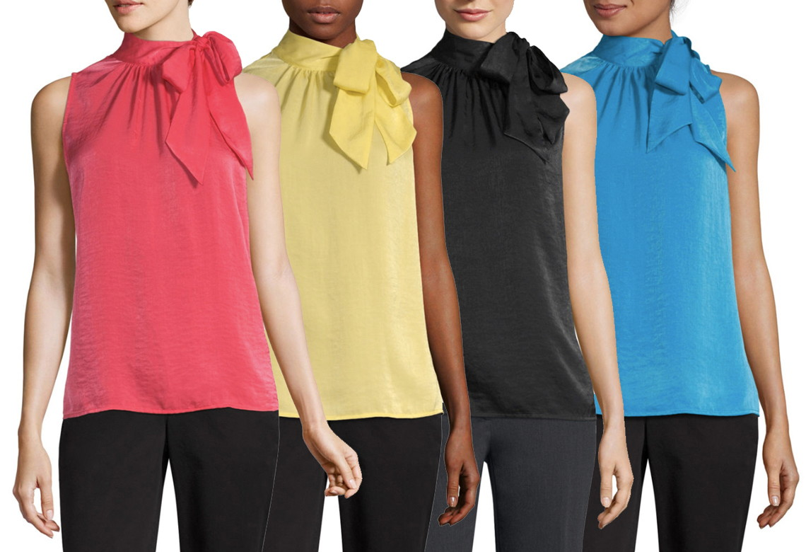 9a039cdf7860b5 Plus, don't miss these satin blouses, available in four colors. Pay just  $13.99, regularly $37.00! Buy 1 Worthington Women's High Neck Sleeveless ...