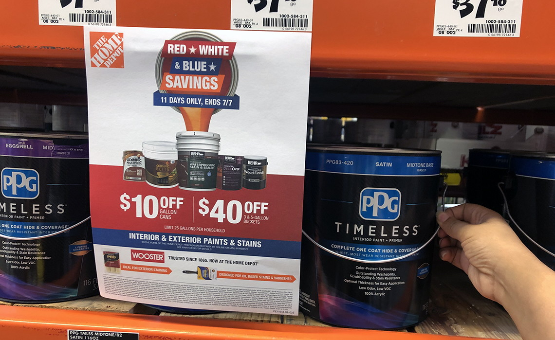 Home Depot Paint Rebates 10 Off Cans 40 Off Buckets