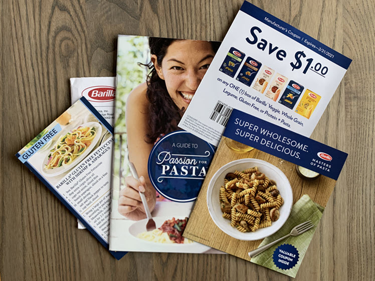 Barilla coupons along with a pasta guide and recipe card.