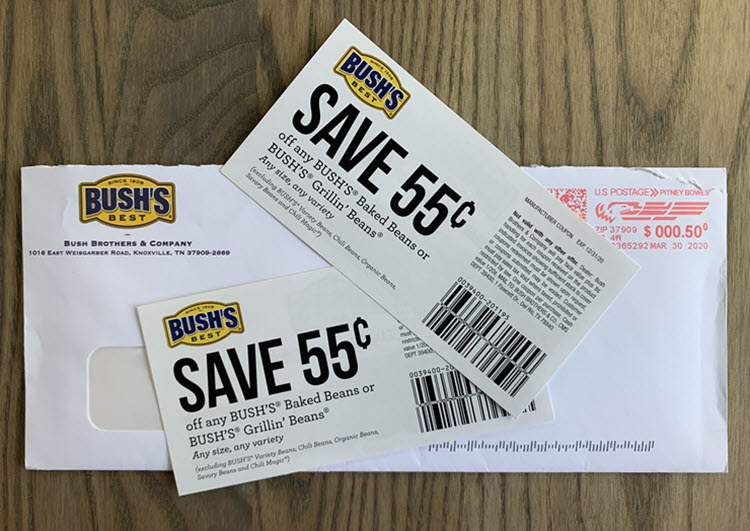 Two coupons for Bush's Baked Beans.