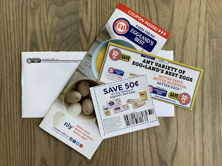 Two coupons for Egggland's Best eggs and nutrition guide.