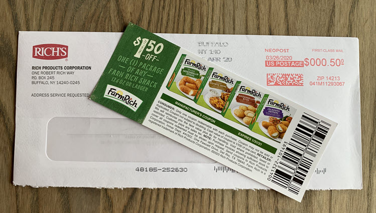 One coupon for Farm Rich product,