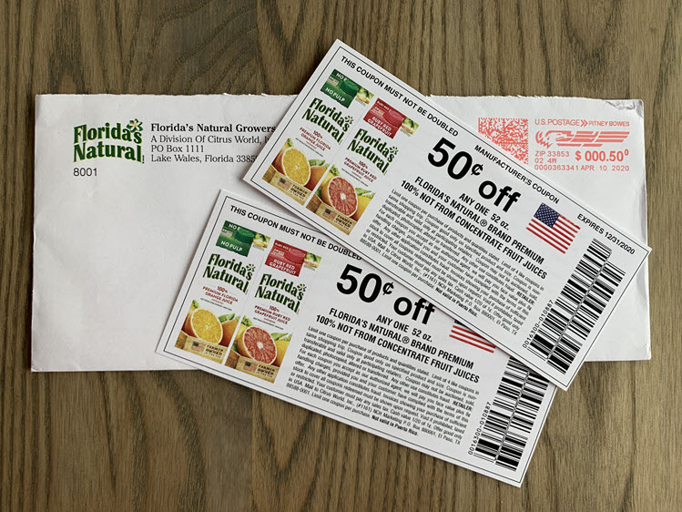 Two coupons for Florida's Natural juice products.