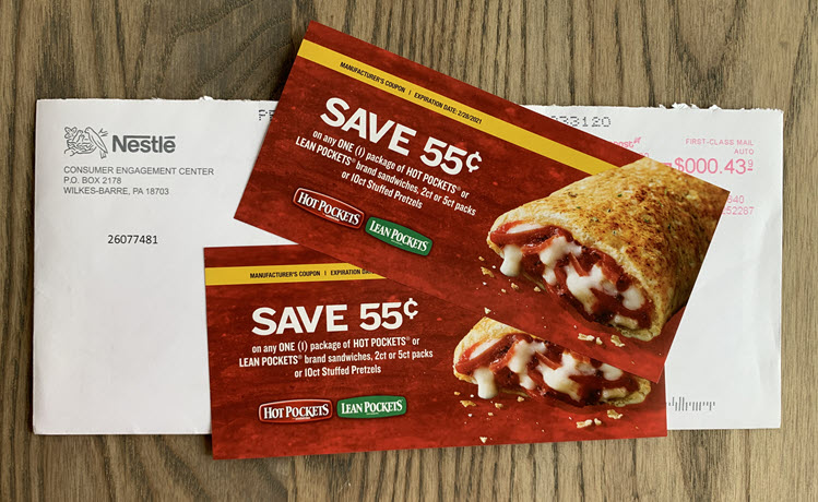 Two coupons for Hot Pockets or Lean Pockets sandwiches.