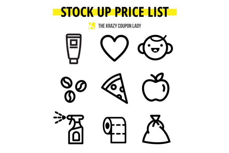 Stock up price list graphic