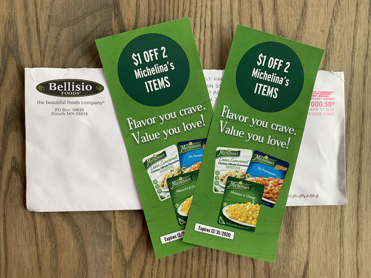 Two coupons for Michelinas frozen food.