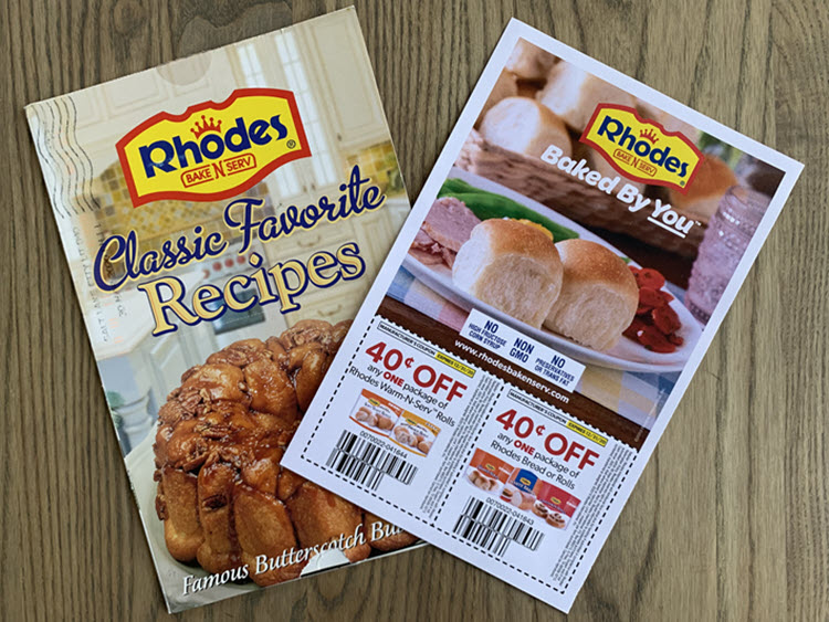 Two coupons for Rhodes bead products and a recipe poster.
