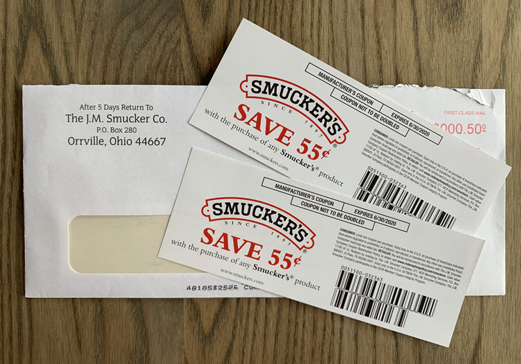 Two coupons for Smuckers jam or jelly.