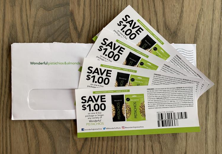 Four coupons for Wonderful pistachios.