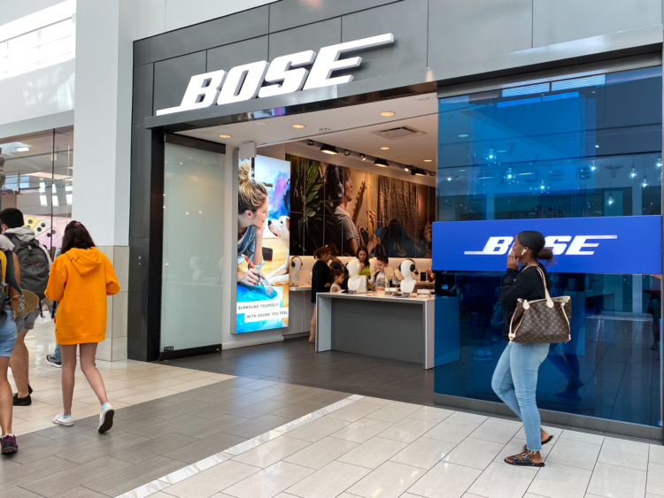Bose retail store location, store front.