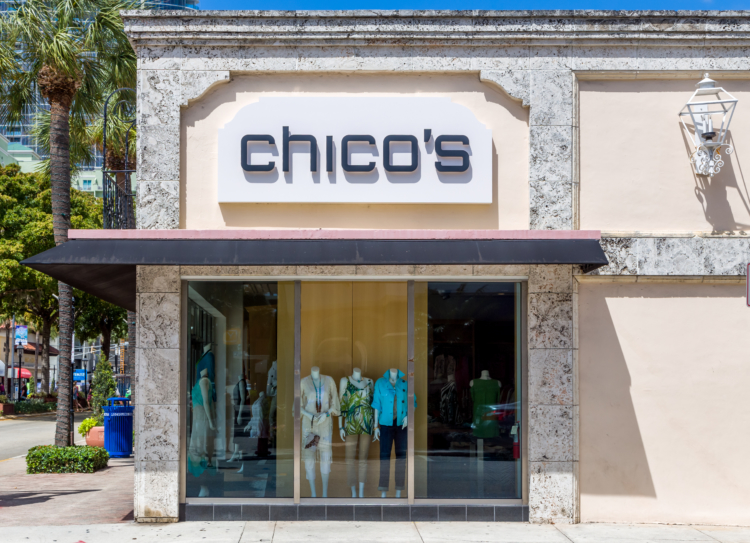 Chico's retail store location, store front.