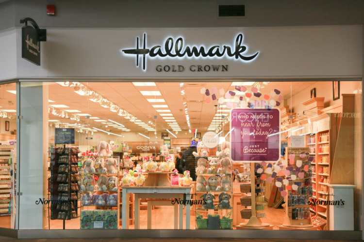 Hallmark Crown Store retail store location, store front.