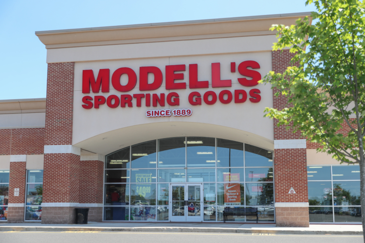 Modell's Sporting Goods retail store location, store front.