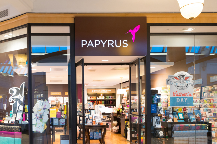 Papyrus retail store location, store front.